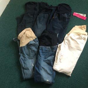 5 Maternity jeans skinny jeggings lot bundle